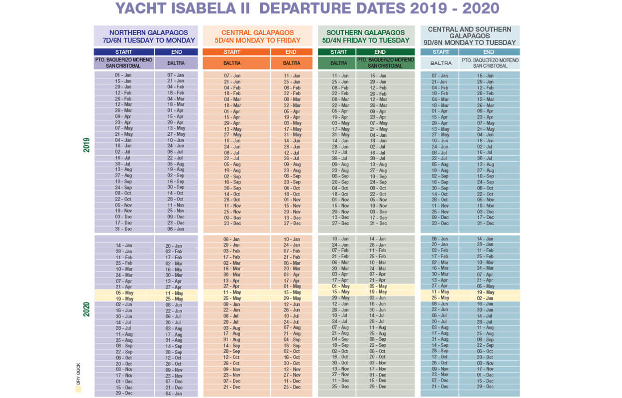 Isabela Yacht departure dates 2019 2020 Magic Ecuador Quito Galapagos