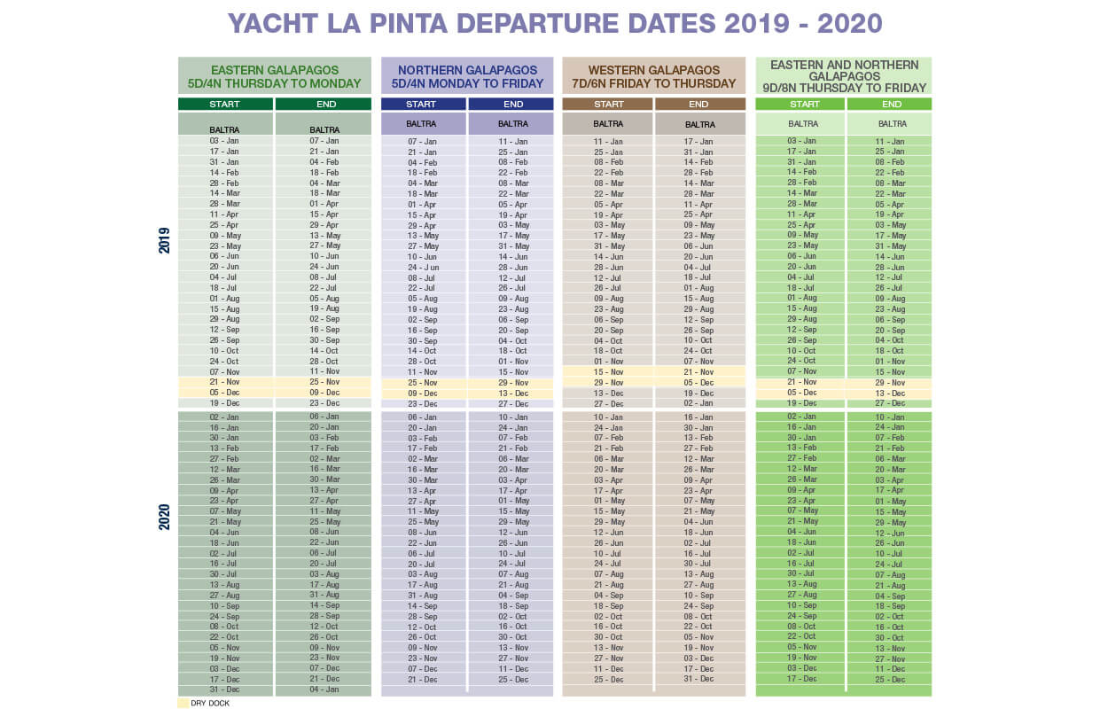 La Pinta Yacht departure dates 2019 2020 Magic Ecuador Quito Galapagos 2